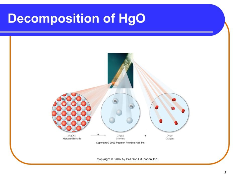 Decomposition of HgO Copyright © 2009 by Pearson Education, Inc.