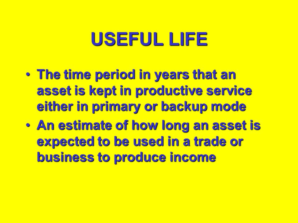 USEFUL LIFE The time period in years that an asset is kept in productive service either in primary or backup mode.
