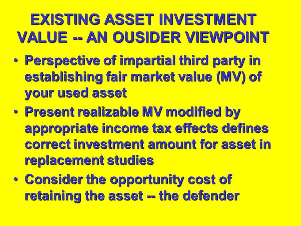 EXISTING ASSET INVESTMENT VALUE -- AN OUSIDER VIEWPOINT