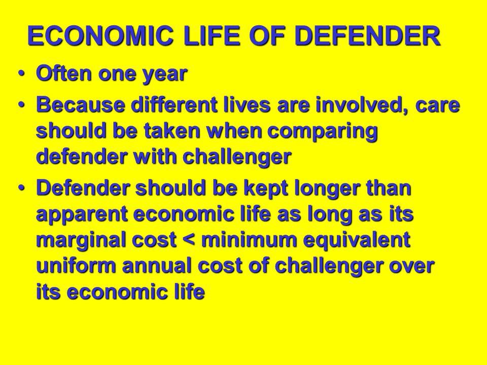 ECONOMIC LIFE OF DEFENDER