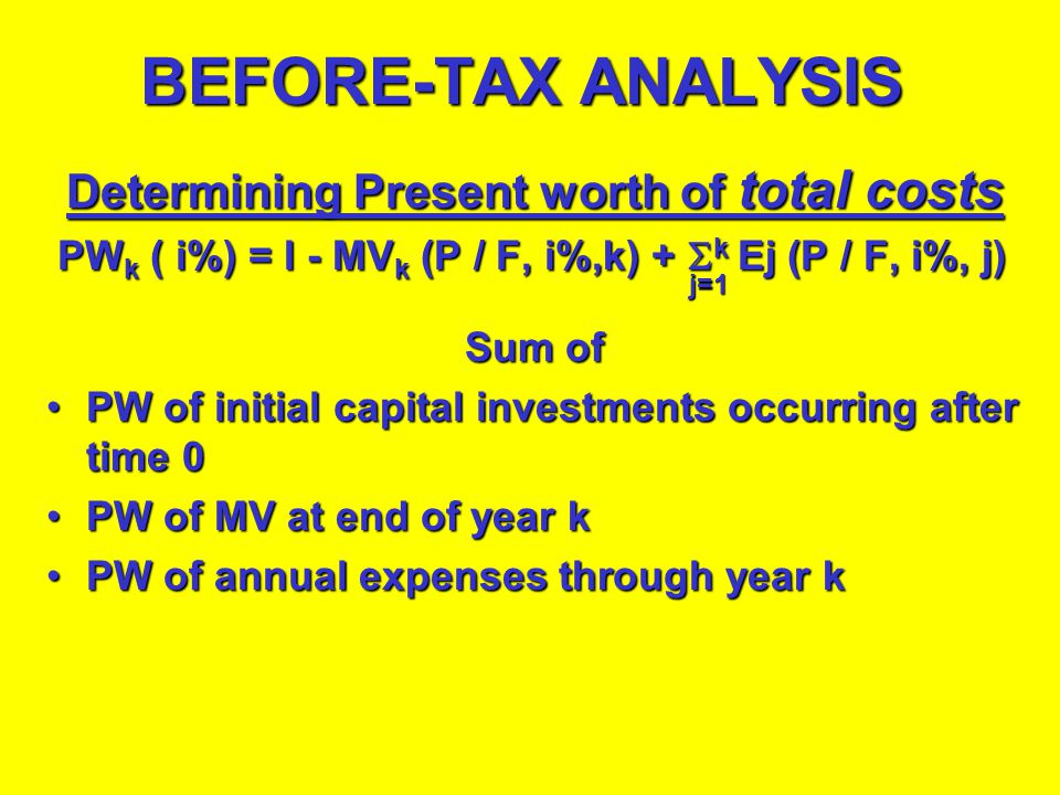BEFORE-TAX ANALYSIS Determining Present worth of total costs