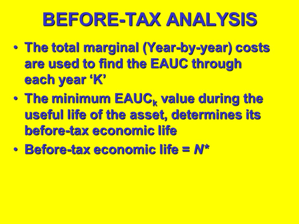 BEFORE-TAX ANALYSIS The total marginal (Year-by-year) costs are used to find the EAUC through each year 'K'