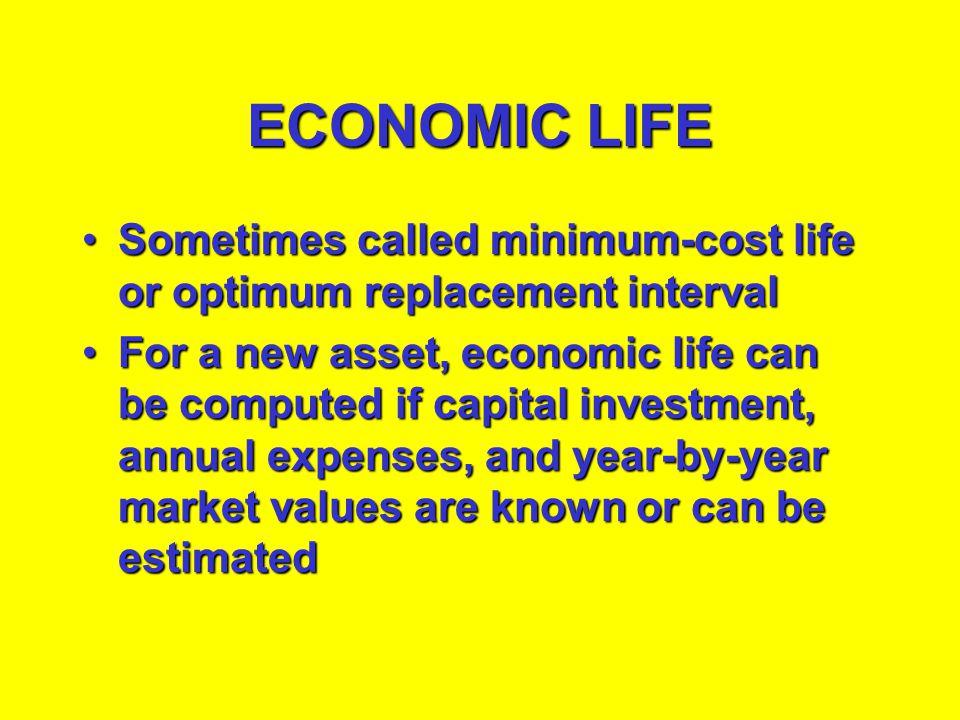 ECONOMIC LIFE Sometimes called minimum-cost life or optimum replacement interval.