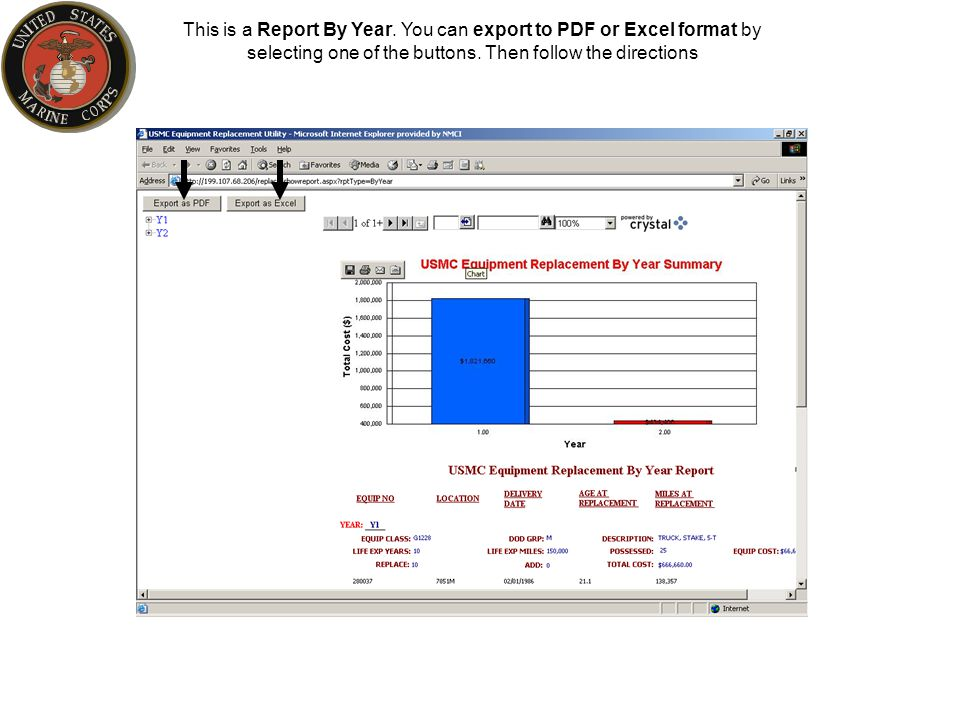 This is a Report By Year. You can export to PDF or Excel format by selecting one of the buttons.