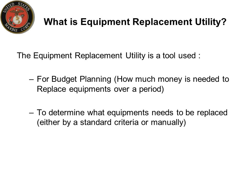 What is Equipment Replacement Utility