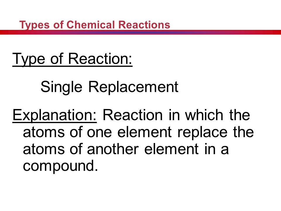 Type of Reaction: Single Replacement