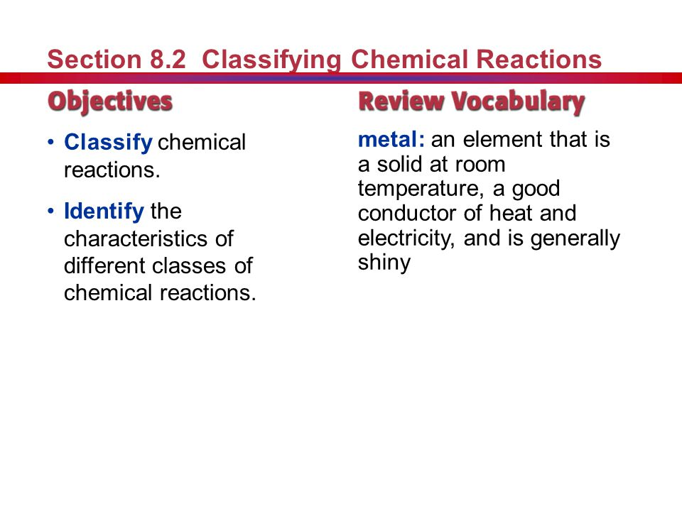 Section 8.2 Classifying Chemical Reactions