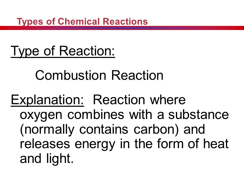 Type of Reaction: Combustion Reaction