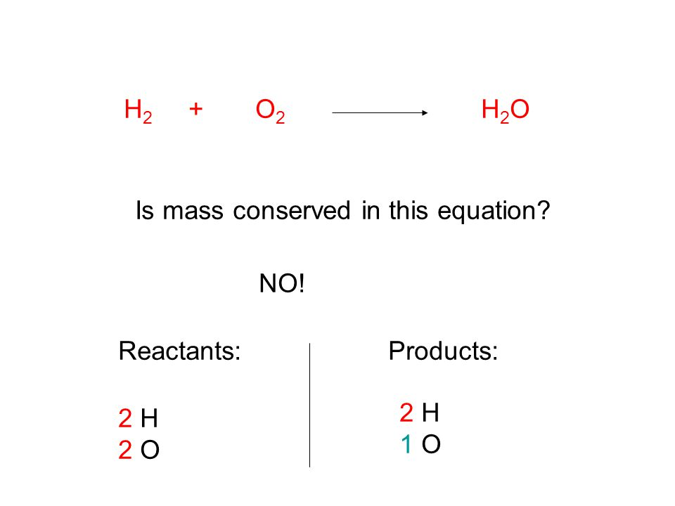 H2 + O2 H2O Is mass conserved in this equation NO! Reactants: