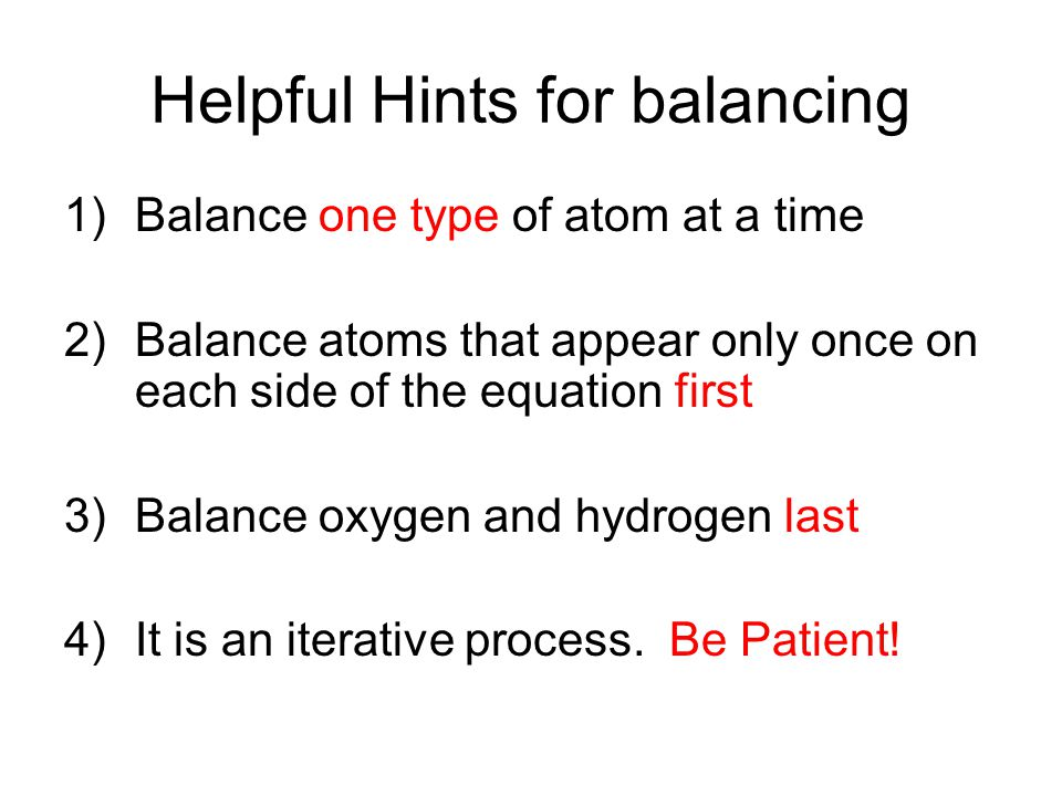 Helpful Hints for balancing
