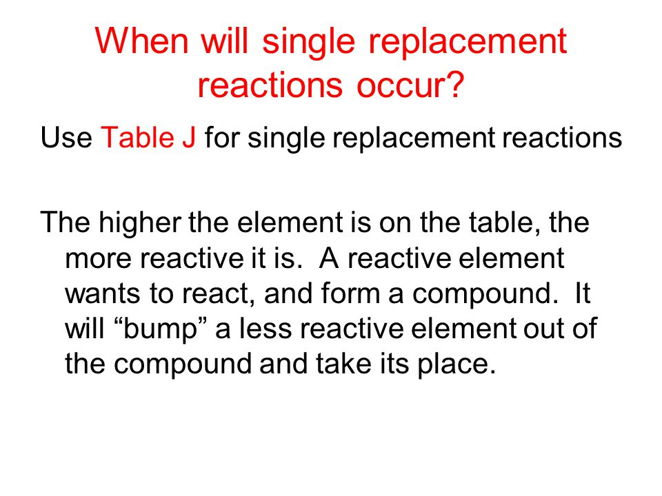 When will single replacement reactions occur