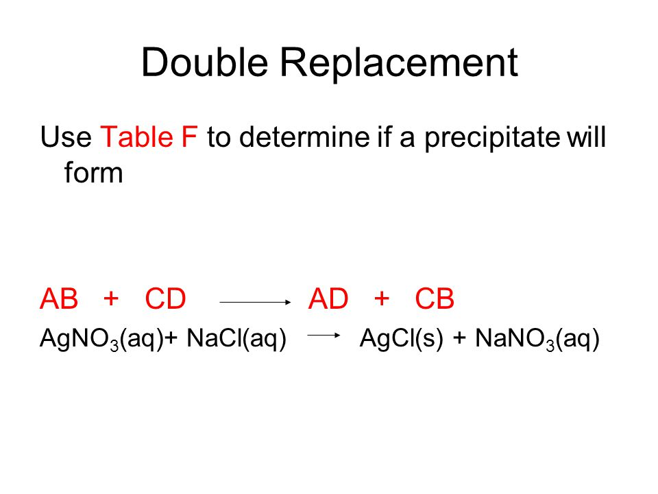 Double Replacement Use Table F to determine if a precipitate will form