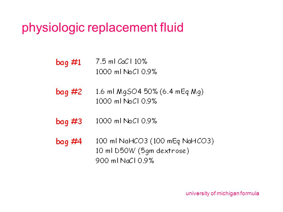 physiologic replacement fluid