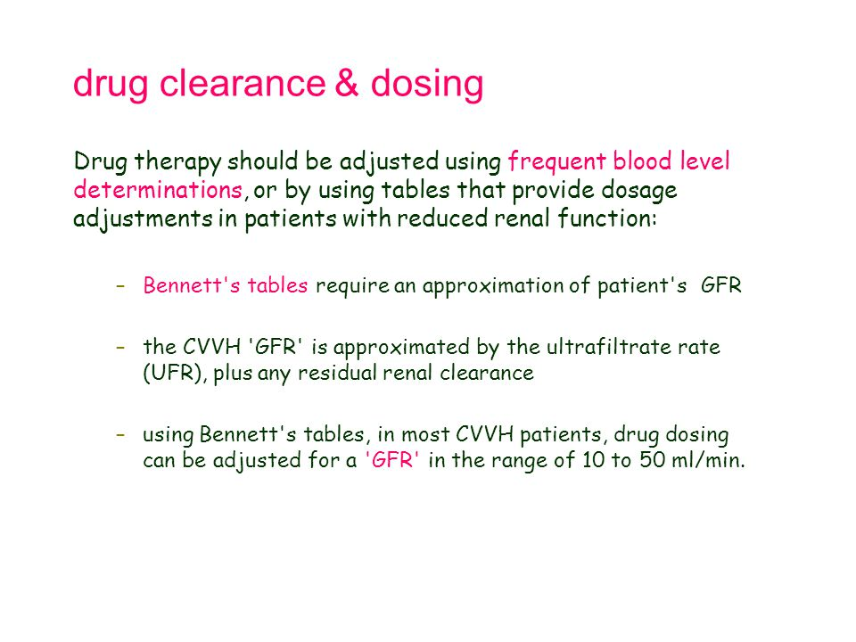 drug clearance & dosing