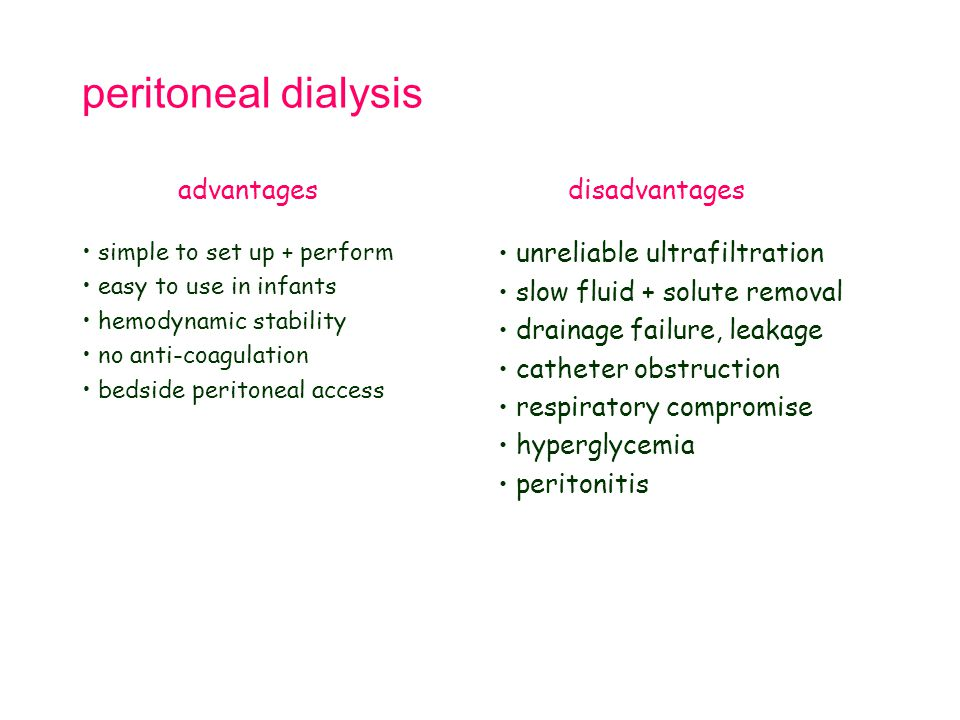 peritoneal dialysis advantages disadvantages