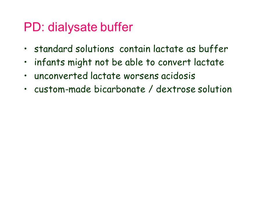 PD: dialysate buffer standard solutions contain lactate as buffer
