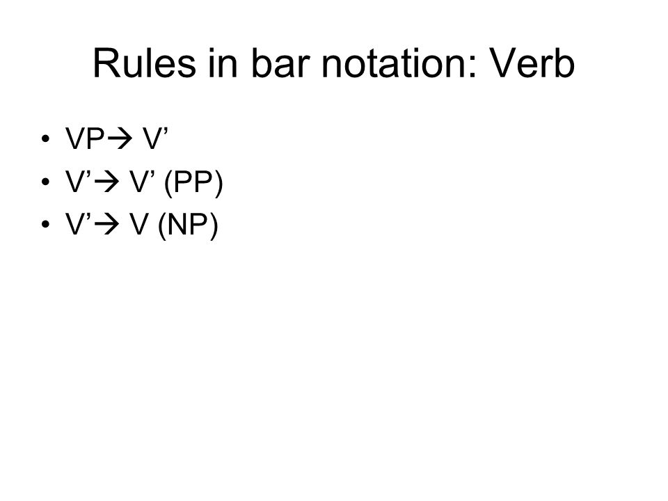 Rules in bar notation: Verb