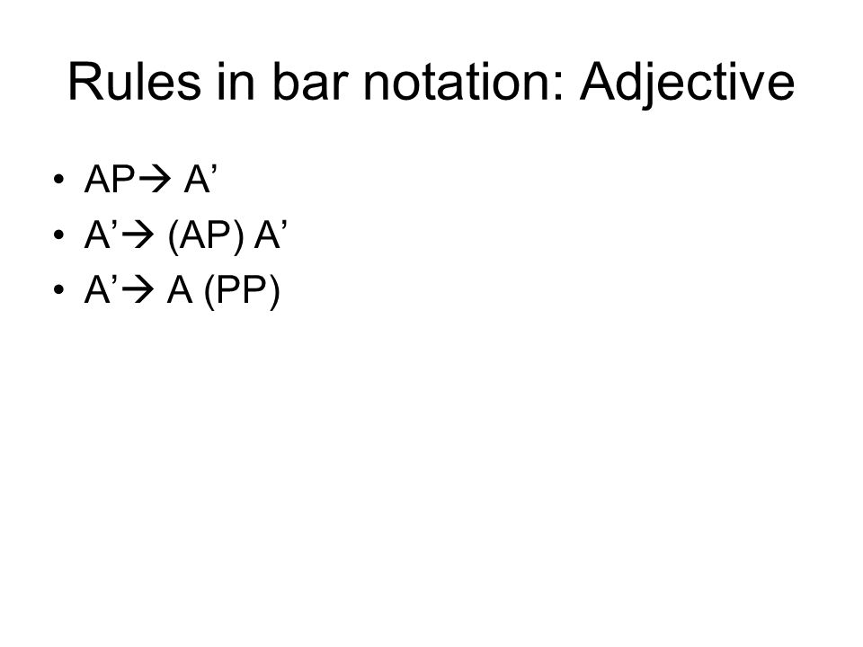 Rules in bar notation: Adjective