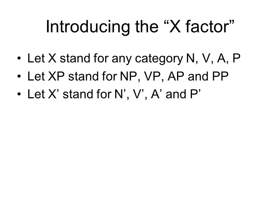 Introducing the X factor