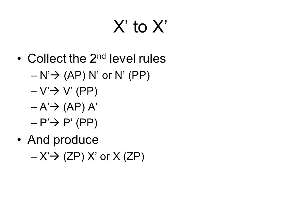 X' to X' Collect the 2nd level rules And produce