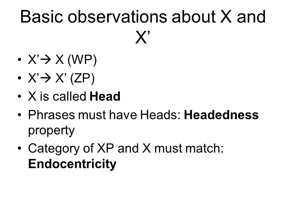 Basic observations about X and X'