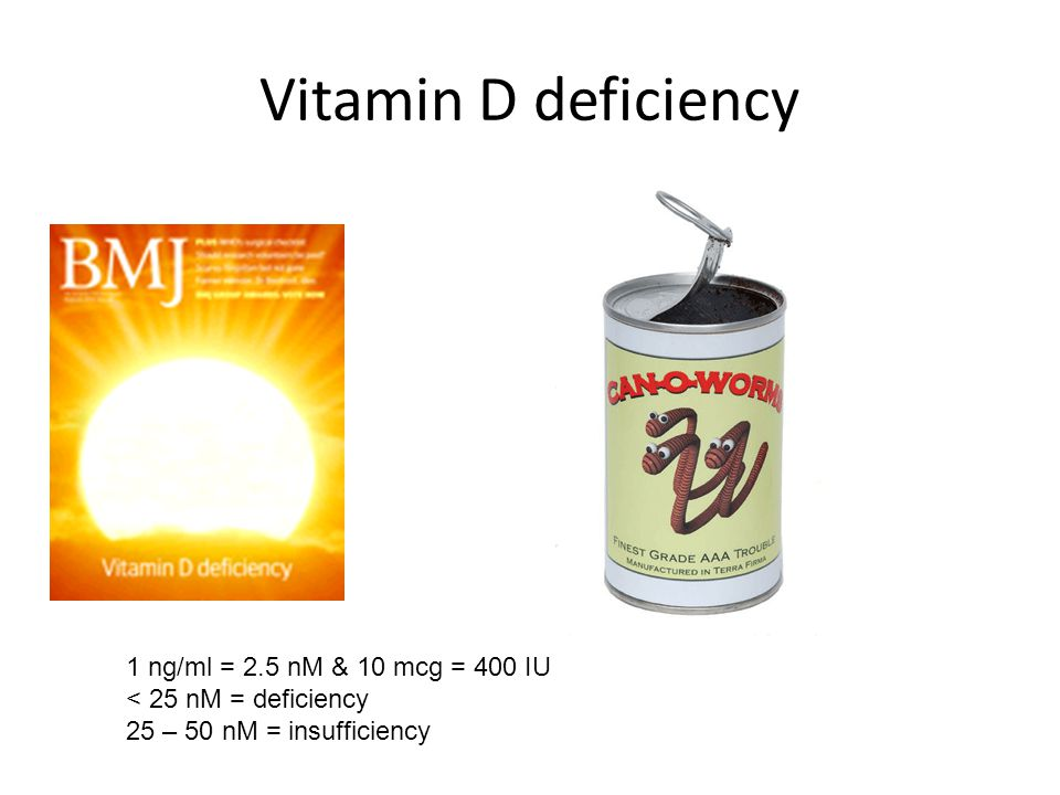 Vitamin D deficiency 1 ng/ml = 2.5 nM & 10 mcg = 400 IU