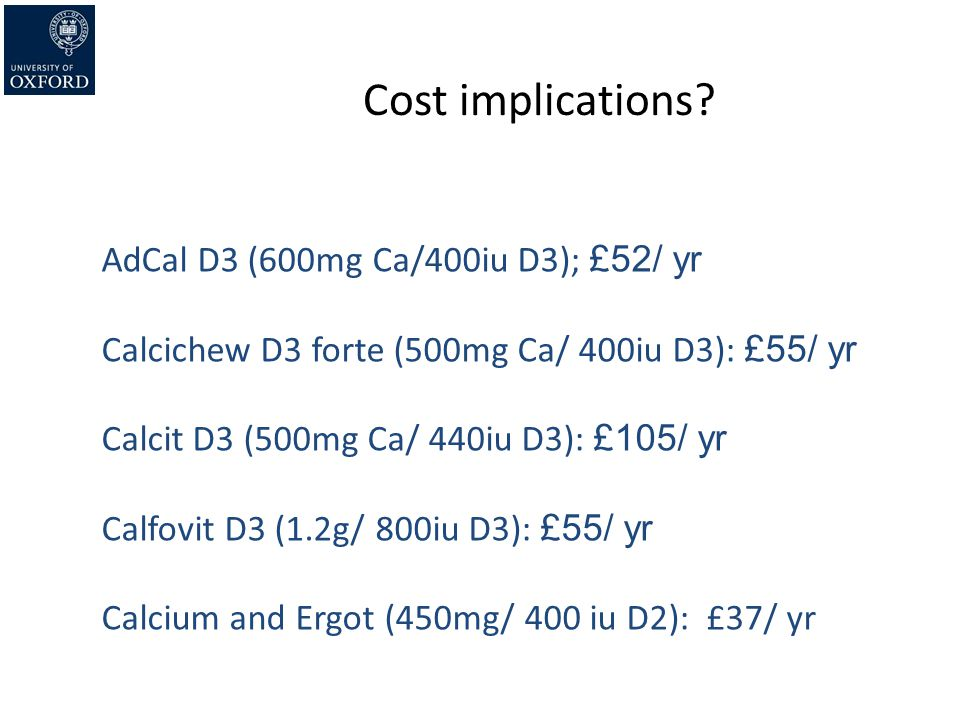 Cost implications AdCal D3 (600mg Ca/400iu D3); £52/ yr