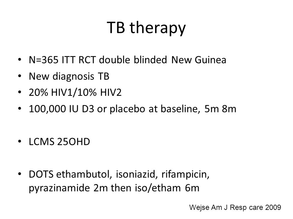 TB therapy N=365 ITT RCT double blinded New Guinea New diagnosis TB