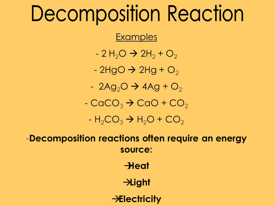 Decomposition reactions often require an energy source: