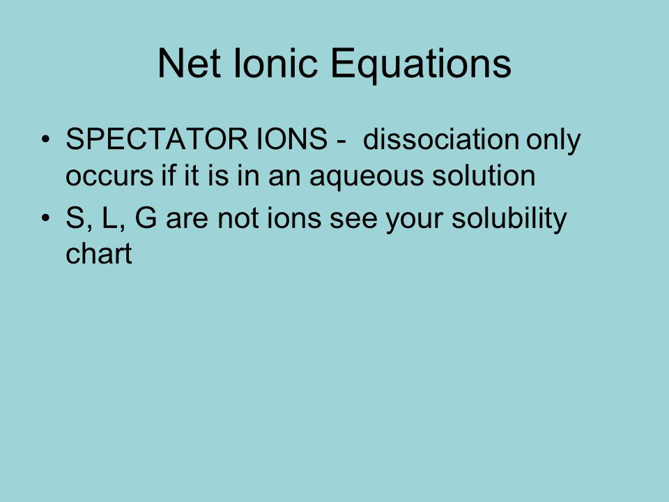 Net Ionic Equations SPECTATOR IONS - dissociation only occurs if it is in an aqueous solution.