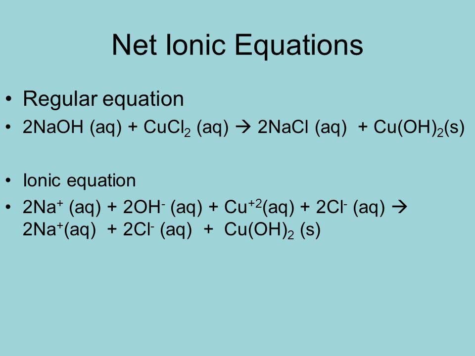Net Ionic Equations Regular equation