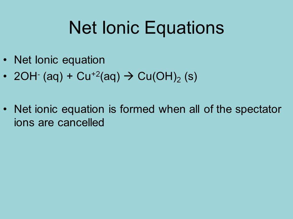 Net Ionic Equations Net Ionic equation