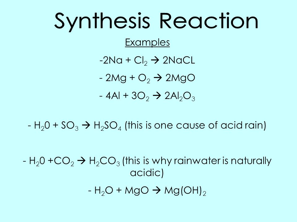 an example of synthesis reaction For the sake of simplicity, we do know that a synthesis reaction is a reaction where two things (substance) make something more doubling the first substance it's like when you invest to.