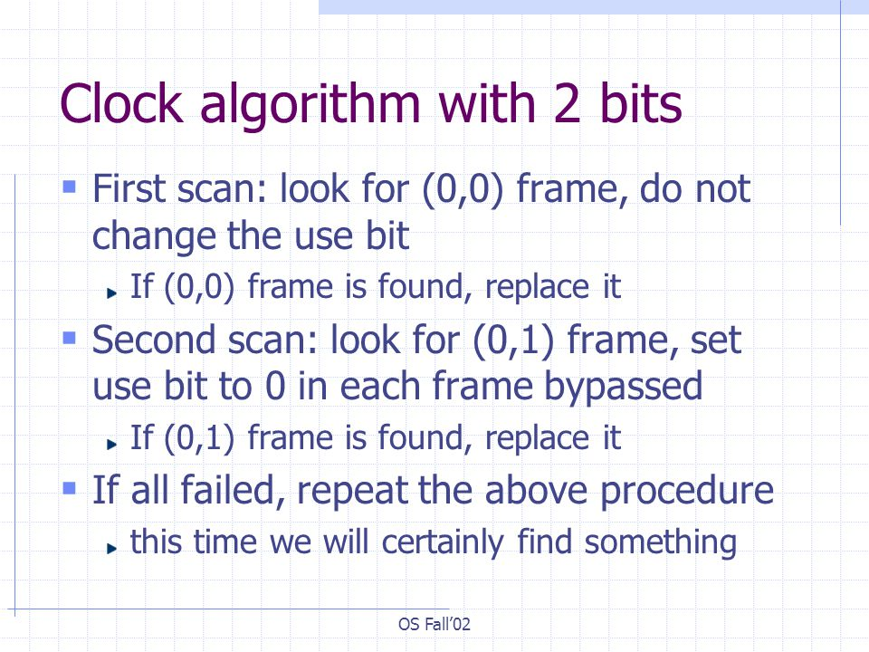 Clock algorithm with 2 bits