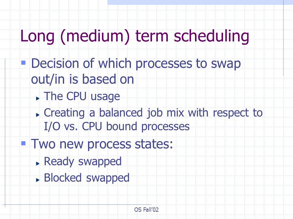 Long (medium) term scheduling