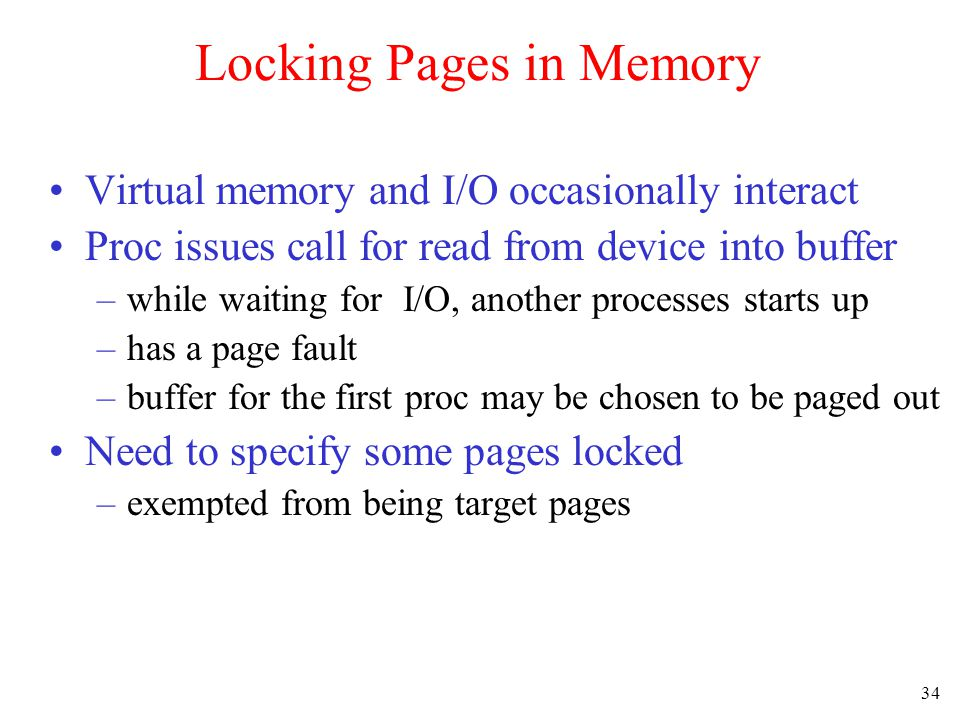 Locking Pages in Memory