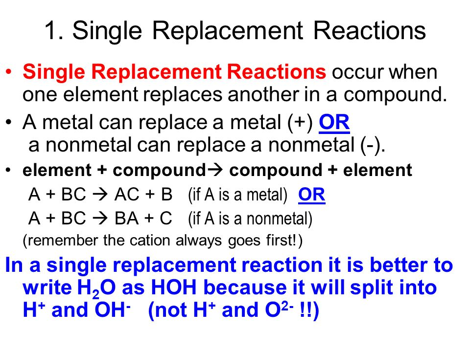 1. Single Replacement Reactions