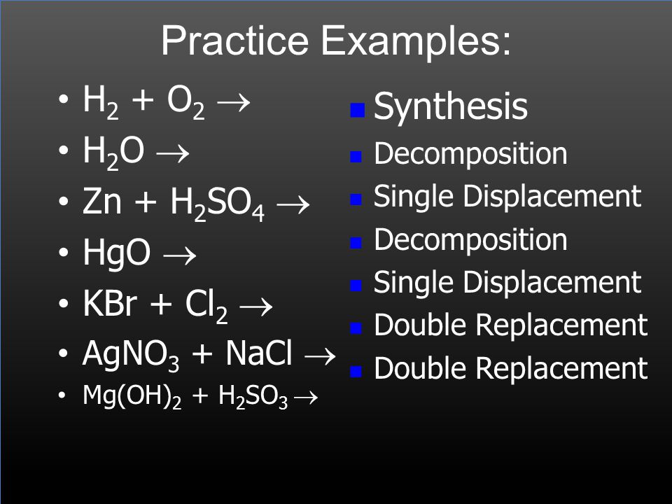 Practice Examples: Synthesis H2 + O2 ® H2O ® Zn + H2SO4 ® HgO ®