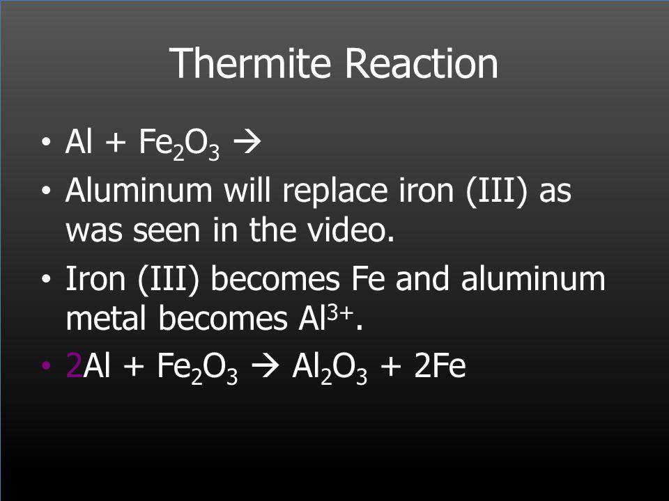 Thermite Reaction Al + Fe2O3 