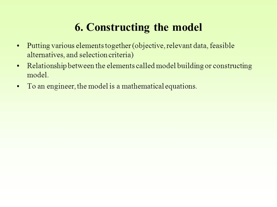 6. Constructing the model