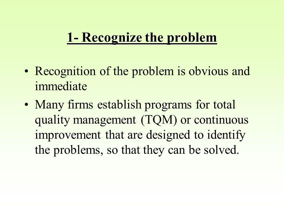 1- Recognize the problem