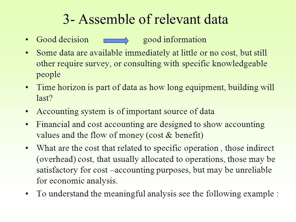 3- Assemble of relevant data