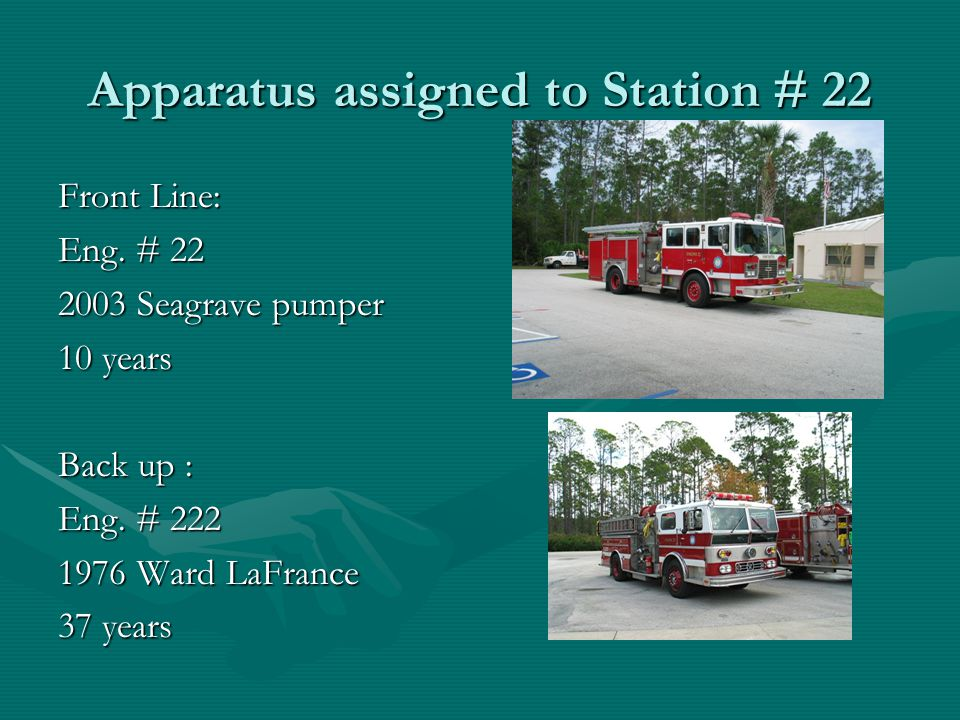 Apparatus assigned to Station # 22