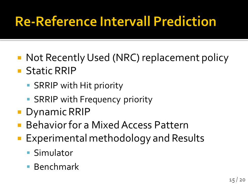 Re-Reference Intervall Prediction