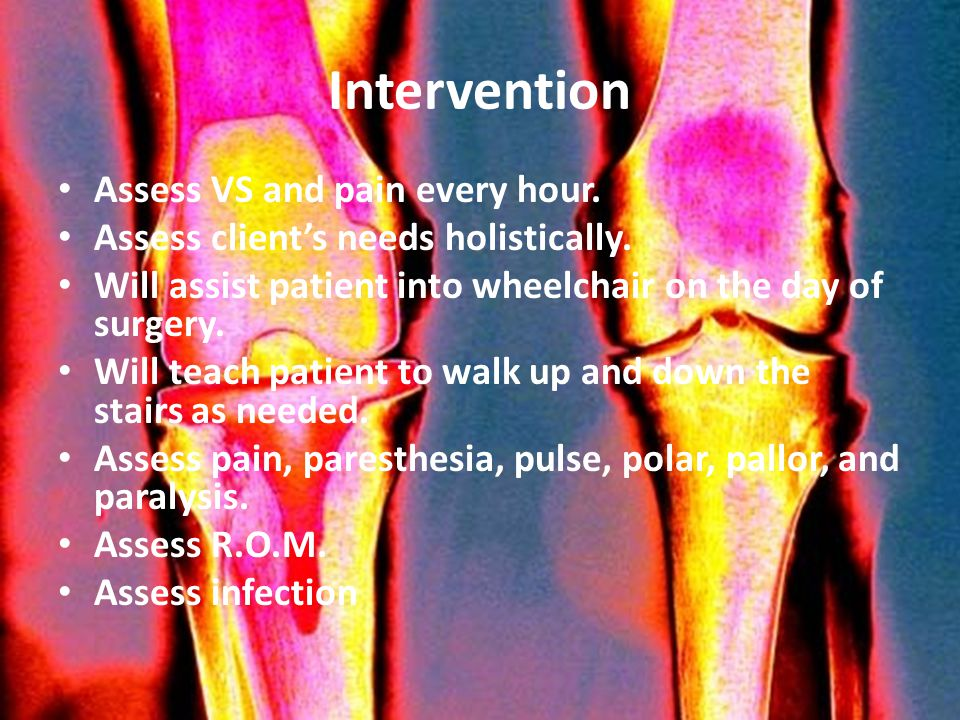 Intervention Assess VS and pain every hour.