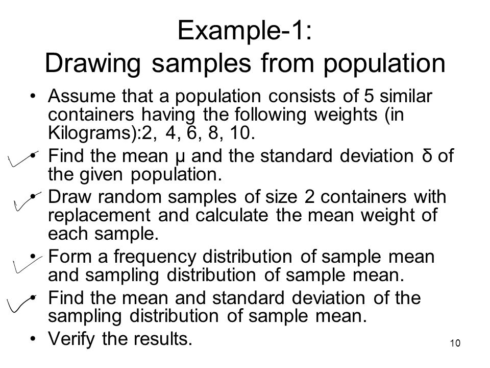 Example-1: Drawing samples from population