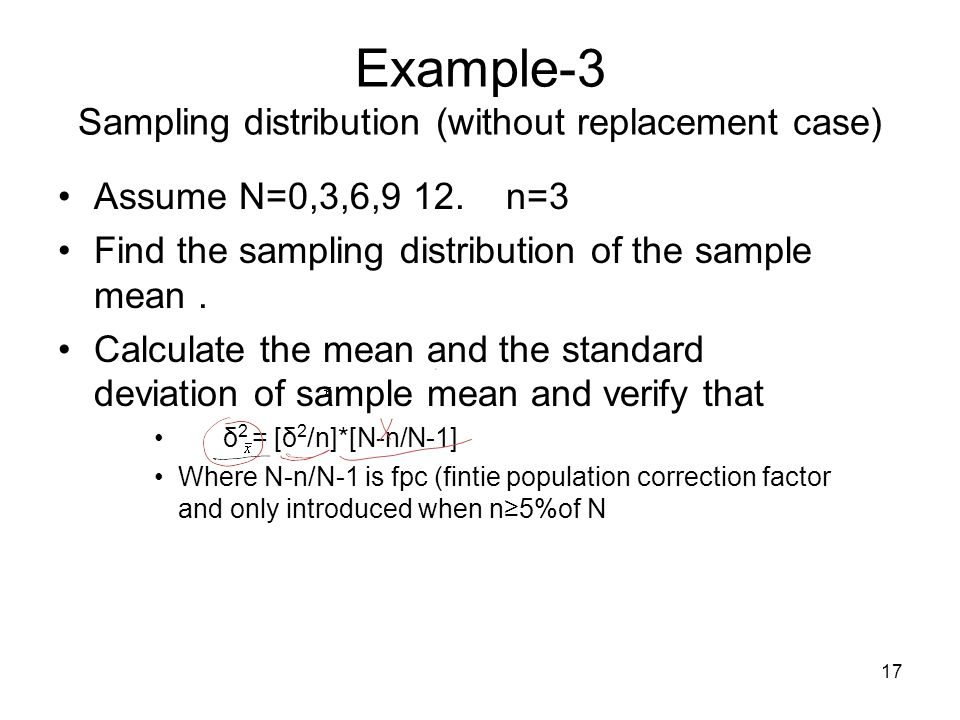Example-3 Sampling distribution (without replacement case)