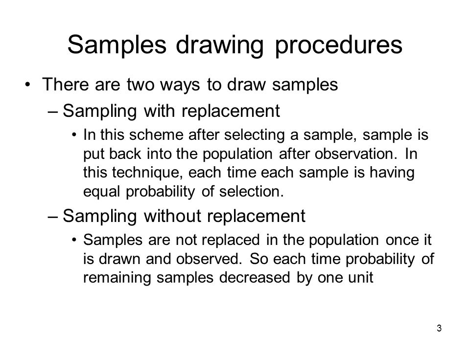 Samples drawing procedures