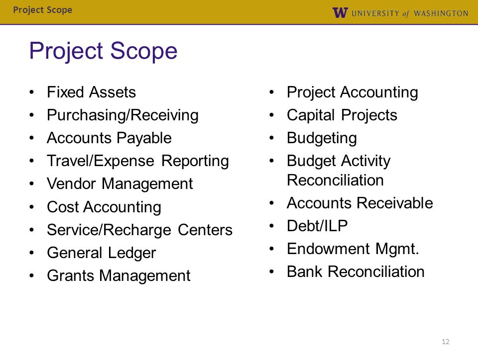 Project Scope Fixed Assets Project Accounting Purchasing/Receiving