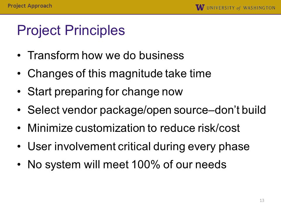 Project Principles Transform how we do business